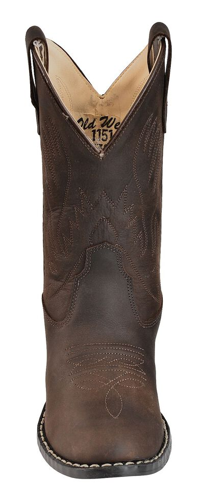 Old West Youth Boys' Distressed Ultra Flex Cowboy Boots - Round Toe, Brown, hi-res