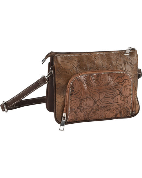 Accessories Plus Women's Tooled Crossbody Purse with Wristlet , Brown, hi-res