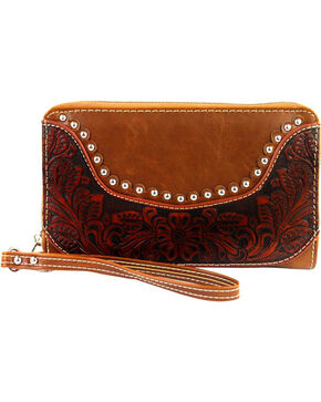 Montana West Tooled Leather Studded Wallet, Brown, hi-res