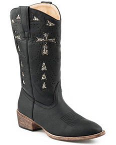Roper Women's All Over Vintage Black Western Boots - Round Toe, Black, hi-res