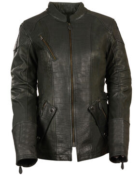 Milwaukee Leather Women's 3/4 Gator Print Motorcycle Jacket, Black, hi-res