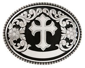 Nocona Floral Cross Belt Buckle, Silver, hi-res