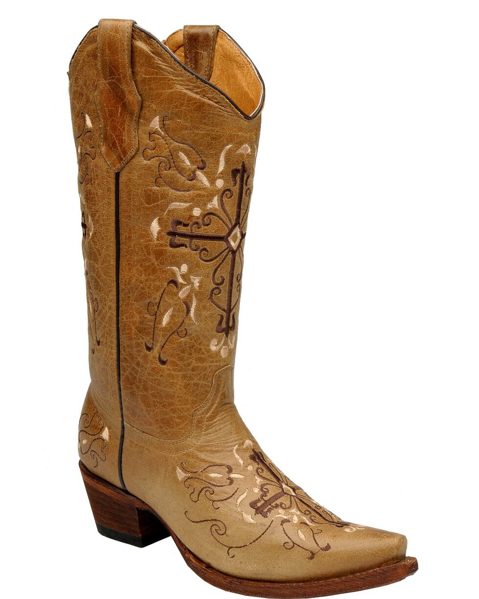 Circle G Cross Embroidered Cowgirl Boots - Snip Toe, Antique Saddle, hi-res