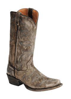 Dan Post Distressed Softee Stitched Cowboy Boots - Snip Toe, Grey, hi-res
