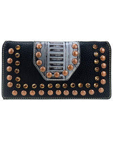 Trinity Ranch Women's Black Studs Wallet, Black, hi-res