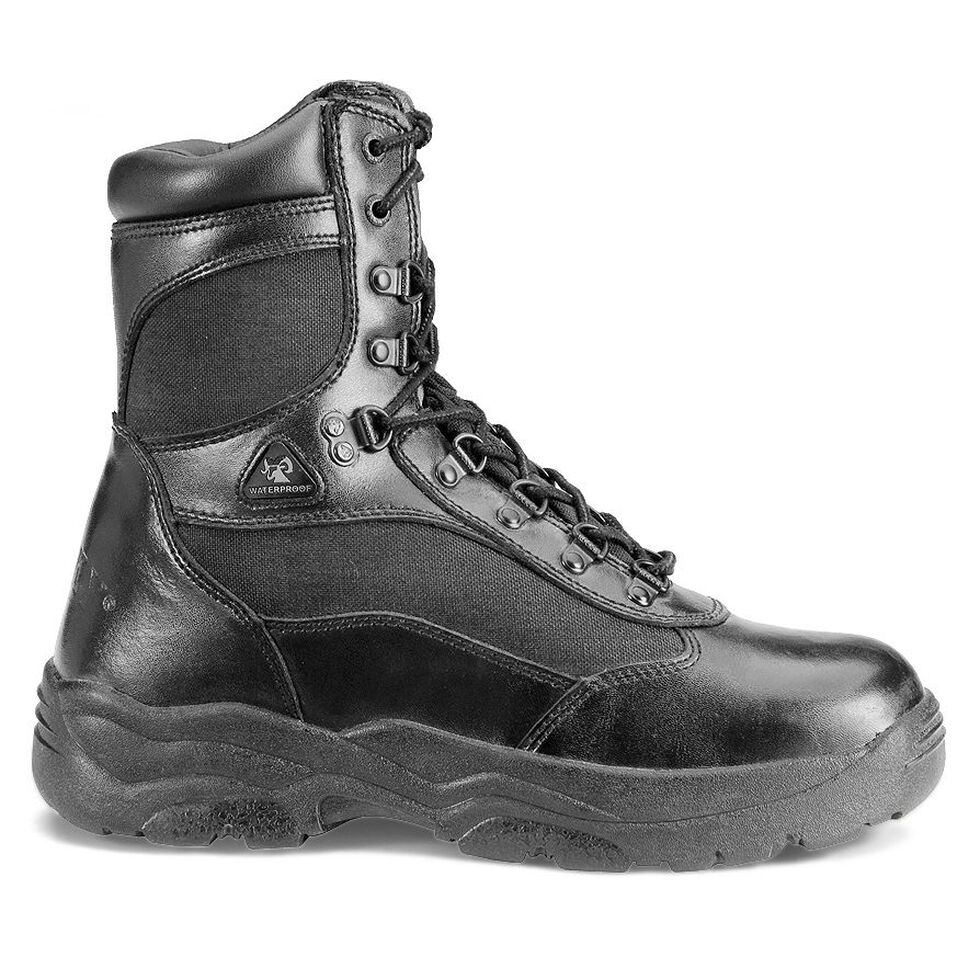 "Rocky 8"" Fort Hood Waterproof Duty Boots, Black, hi-res"
