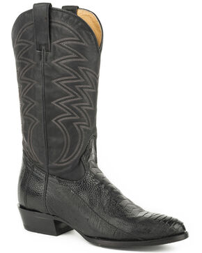 Roper Men's Black Silverton Ostrich Boots - Medium Toe , Black, hi-res