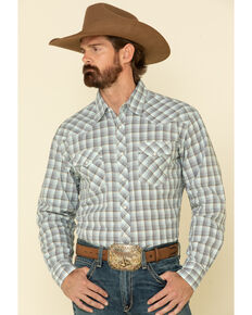 Wrangler 20X Men's Advanced Comfort White Small Plaid Long Sleeve Western Shirt , White, hi-res