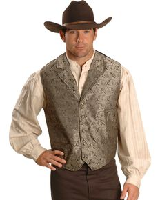 Rangewear by Scully Taupe Paisley Button Vest, Taupe, hi-res