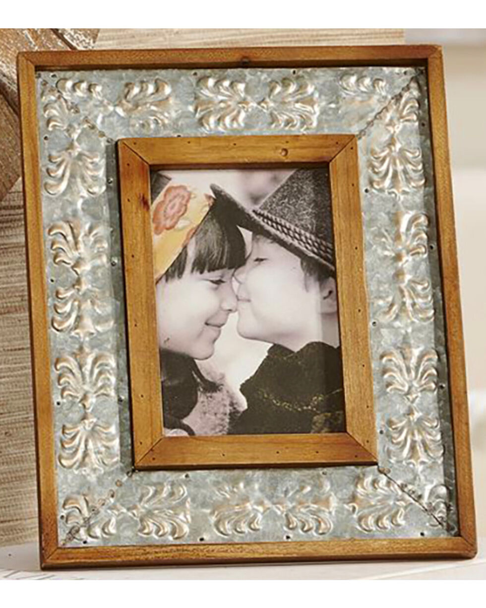 Giftcraft Antique Tin 4x6 Photo Frame , Tan, hi-res