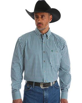 Wrangler Men's Blue George Strait One Pocket Plaid Shirt , Blue, hi-res