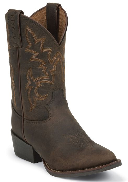 Justin Youth Boys' Cowboy Boots - Round Toe, Brown, hi-res