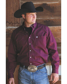 C‌inch Men's Solid Burgundy Button Long Sleeve Western Shirt, Burgundy, hi-res