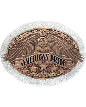 Montana Silversmiths Two Tone American Pride Buckle , Silver, hi-res