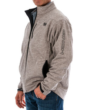 Cinch Men's Embroidered Logo Heather Bonded Jacket - Big , Heather Grey, hi-res