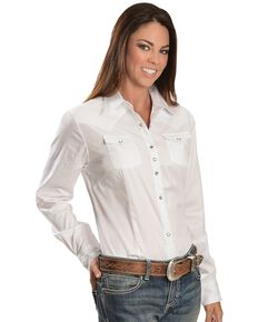 Wrangler Women's White Rhinestone Snap Long Sleeve Western Shirt, White, hi-res