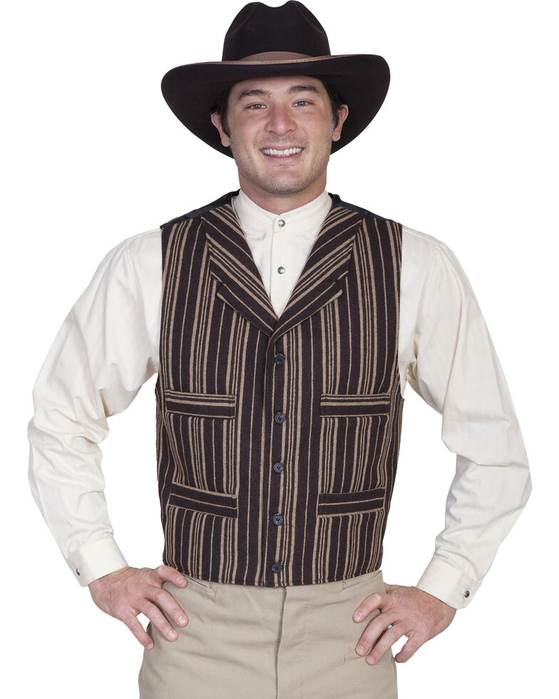 Wahmaker by Scully Four Pocket Wool Blend Vest, Brown, hi-res