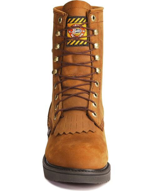 """Justin 8"""" Lace-R Waterproof Work Boots, Aged Bark, hi-res"""