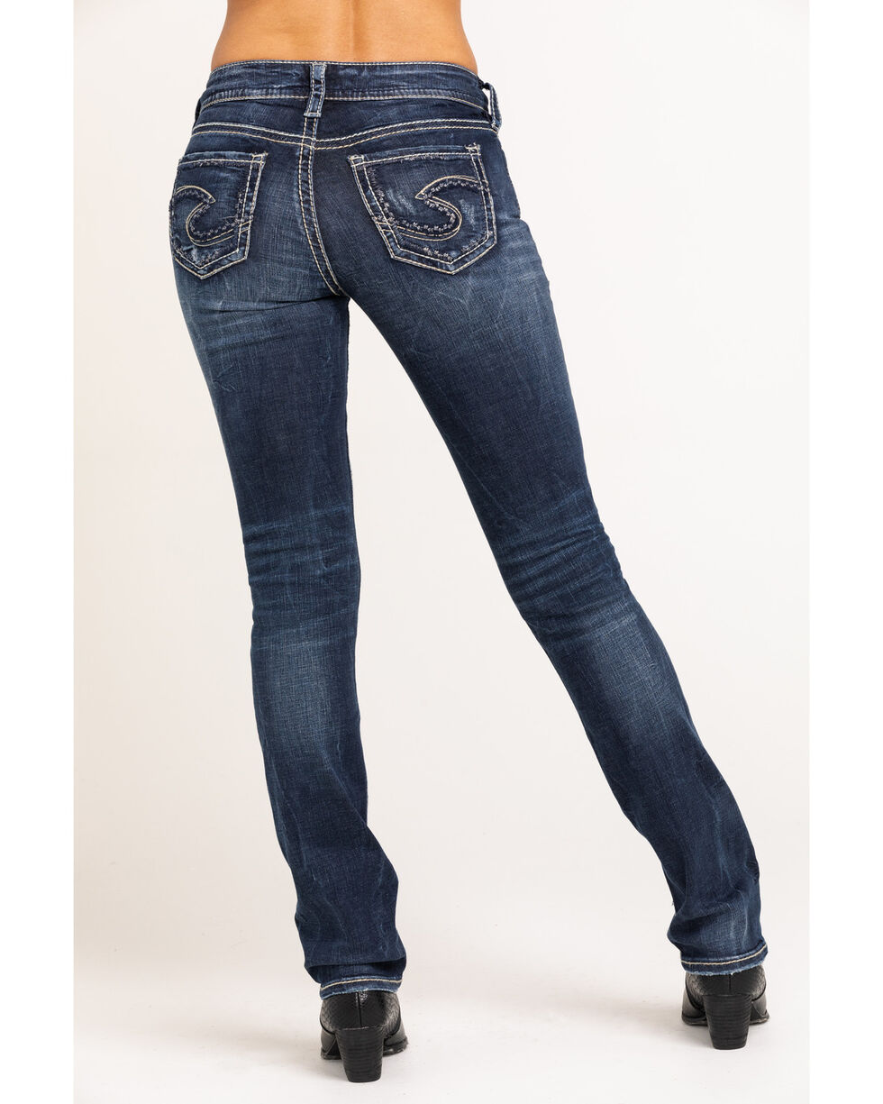 Silver Women's Suki Mid Straight Dark Wash Jeans - Plus Size, Blue, hi-res