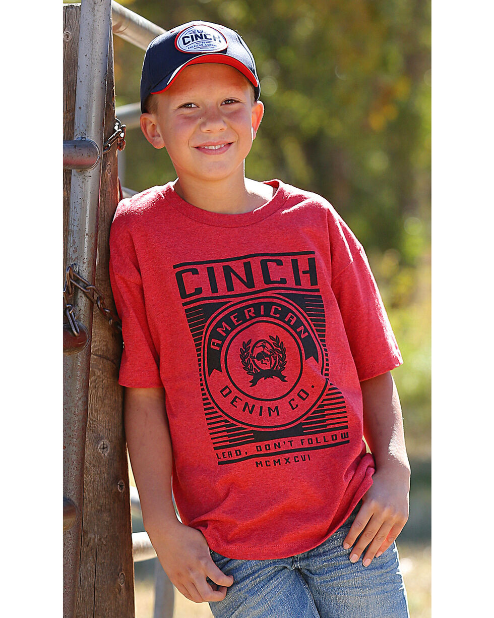 Cinch Boys' Red Lead Don't Follow Tee , Red, hi-res
