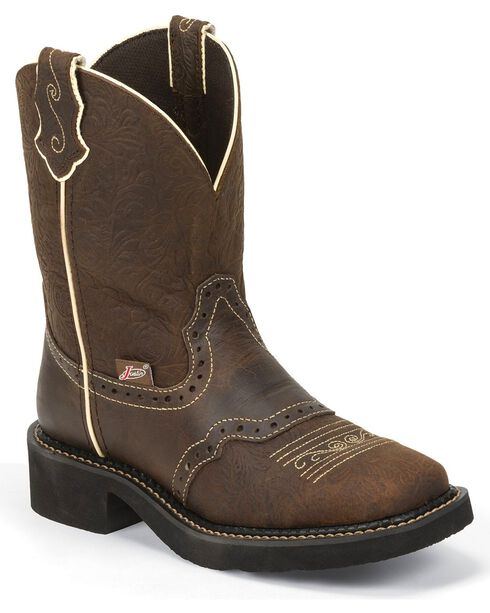 Justin Gypsy Embossed Floral Leather Cowgirl Boots - Square Toe, Brown, hi-res