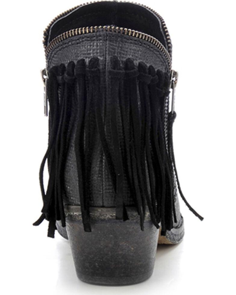 Circle G Fringe Zip Booties - Round Toe, Black, hi-res