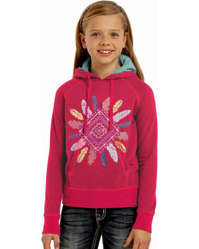 Rock & Roll Cowgirl Girls' Pink Aztec Diamond Hoodie , Pink, hi-res
