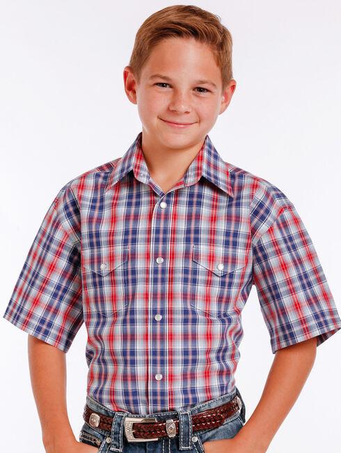 Panhandle Slim Boys' Blue Mclean Classic Short Sleeve Plaid Shirt , Blue, hi-res
