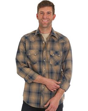 Wrangler Men's Retro Brown Plaid Western Shirt , Brown, hi-res