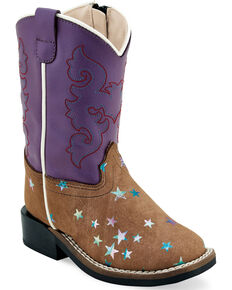 Old West Toddler Girls' Star Western Boots - Wide Square Toe, Brown, hi-res