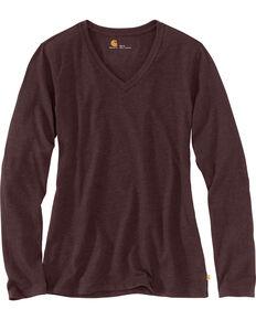 Carhartt Women's Brown Lockhart Long Sleeve V-Neck Shirt , Brown, hi-res