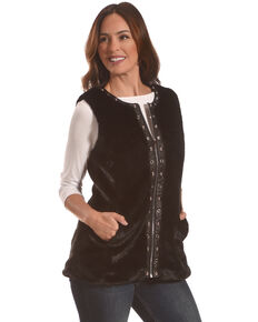 Tesoro Moda Women's Black Faux Fur Vest, Black, hi-res