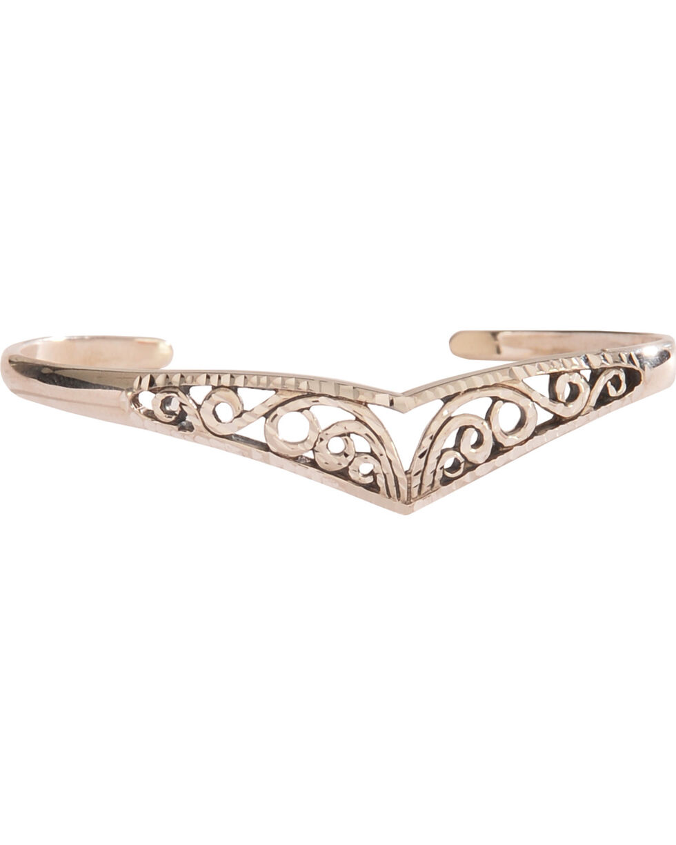 Silver Legends Women's Filigree V-Shaped Diamond Cut Bracelet , Silver, hi-res