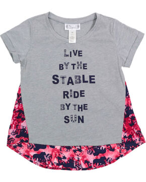 Shyanne Girls' Short Sleeve Floral Back Tee , Heather Grey, hi-res