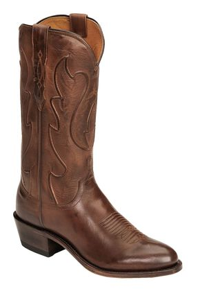 Lucchese Handmade 1883 Ranch Hand Cowboy Boots -  Round Toe, Tan Burnish, hi-res