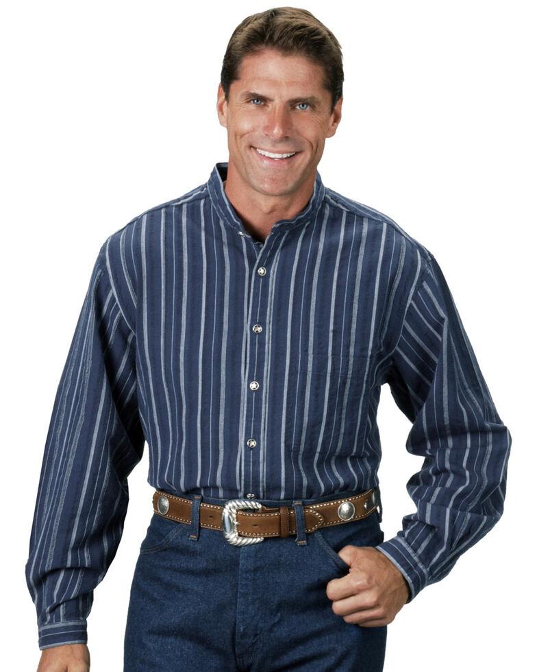 Rangewear by Scully Men's Lawman Dobby Striped Long Sleeve Western Shirt, Blue Stripe, hi-res