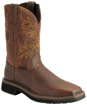 Justin Stampede Work Boots - Steel Toe, Tan, hi-res