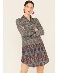 Roper Women's Aztec Border Print Dress , Black, hi-res