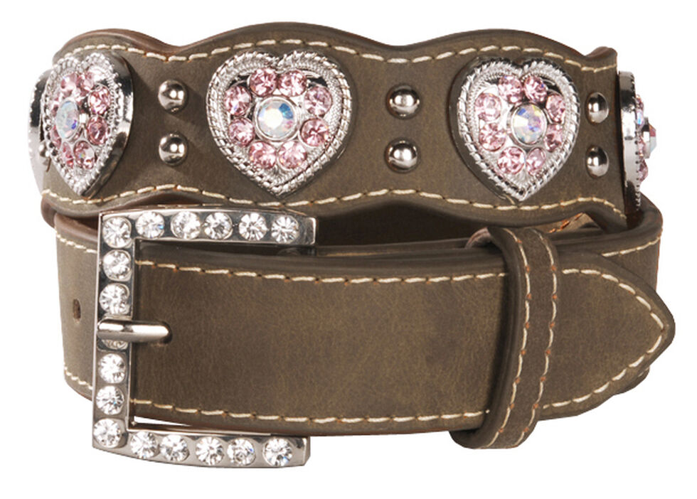 Nocona Girls' Pink Rhinestone Heart Belt - 18-28, Brown, hi-res