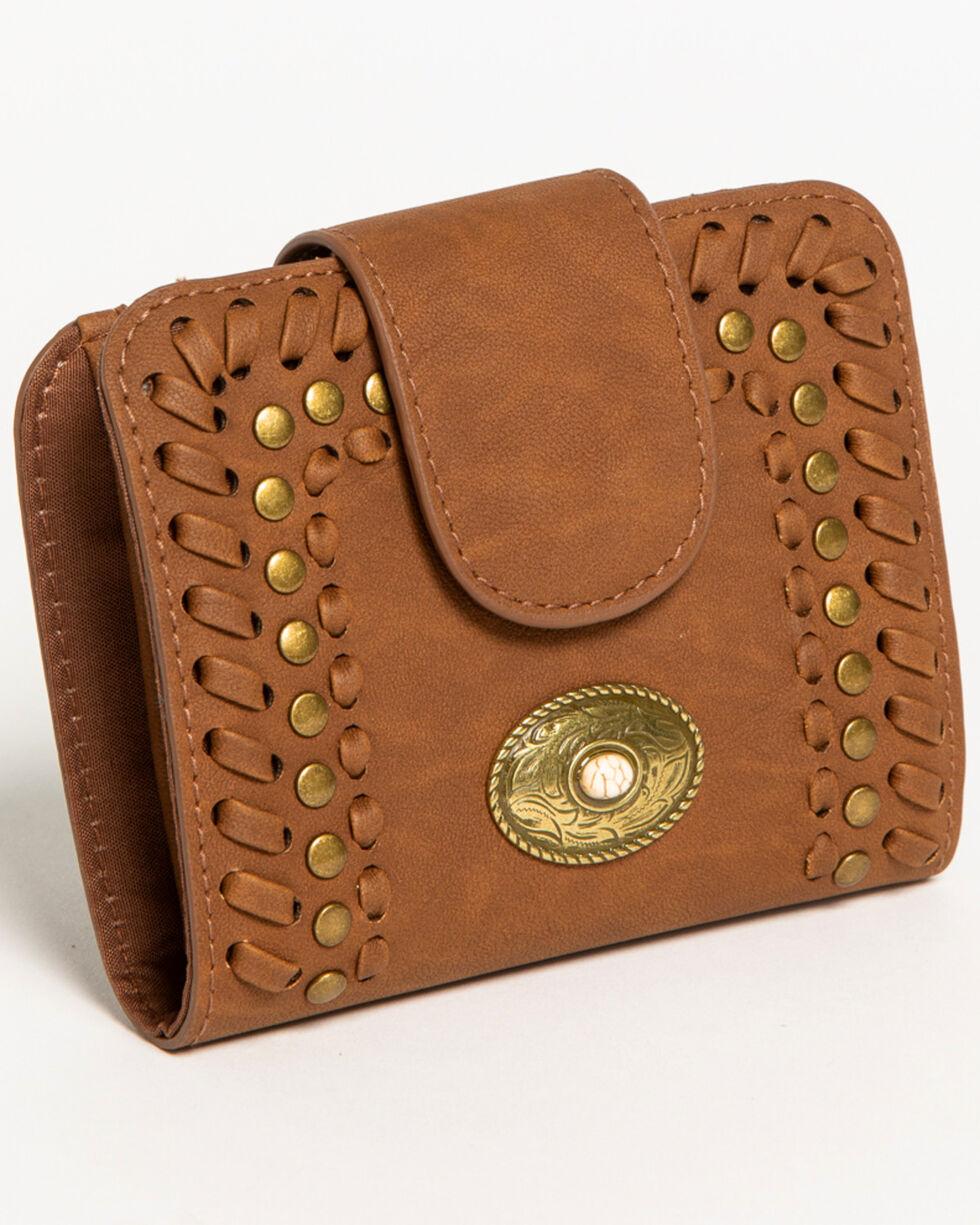 Shyanne Women's Studded Snap Wallet , Brown, hi-res