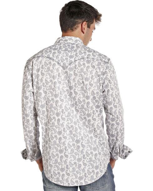 Rock & Roll Cowboy Men's White/Grey Stone Wash Paisley Long Sleeve Shirt, White, hi-res