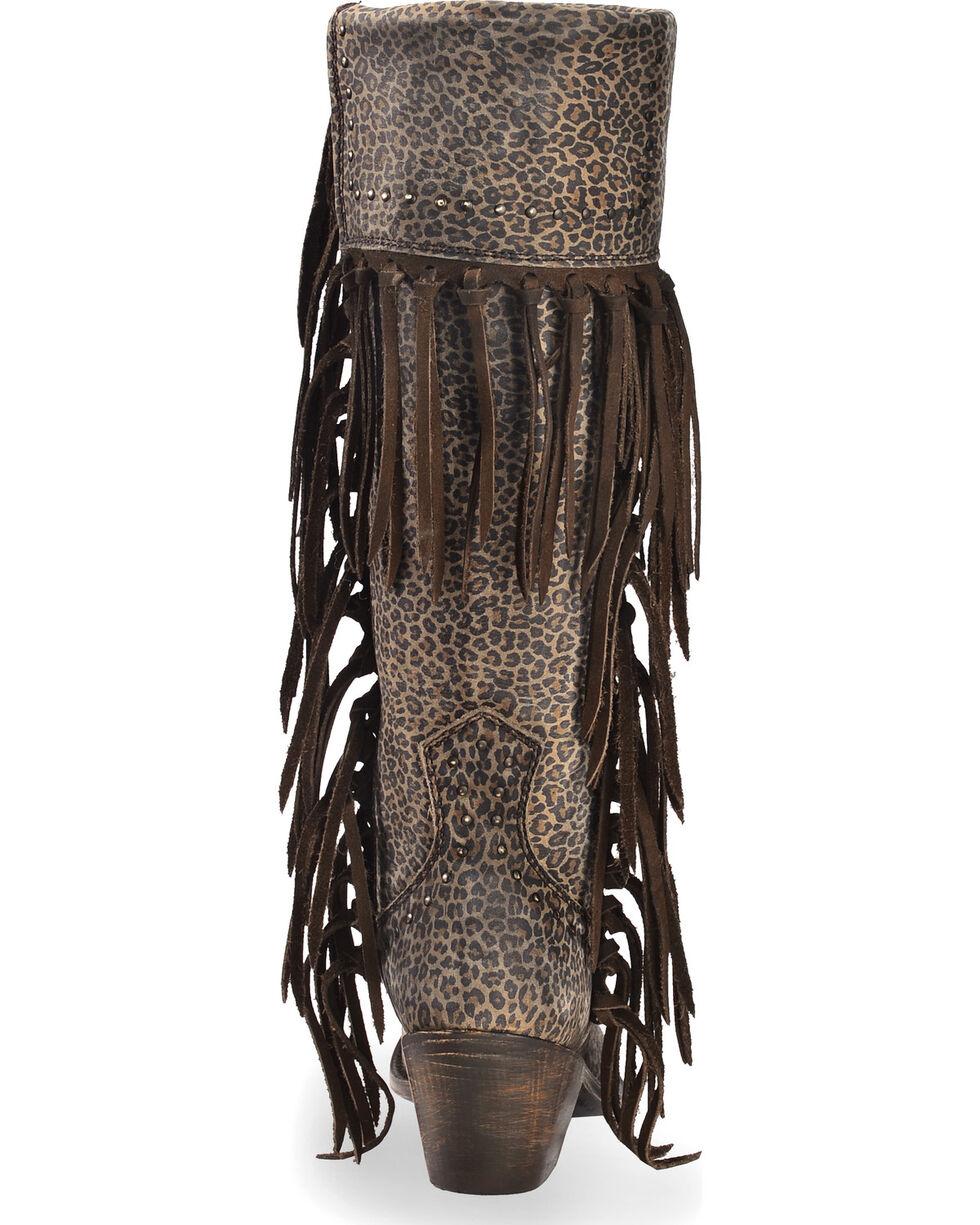 Liberty Black Women's Dark Brown Micro Jaguar Tall Fringe Boots - Narrow Square Toe , Dark Brown, hi-res