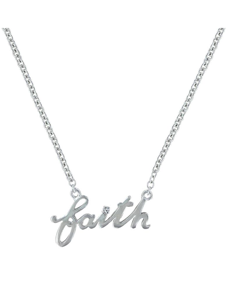 Montana Silversmiths Women's Written Faith Necklace , Silver, hi-res