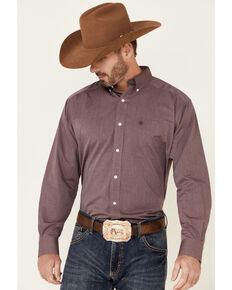 Ariat Men's Burgundy Wrinkle Free Oxford Pinpoint Long Sleeve Button-Front Western Shirt , Burgundy, hi-res