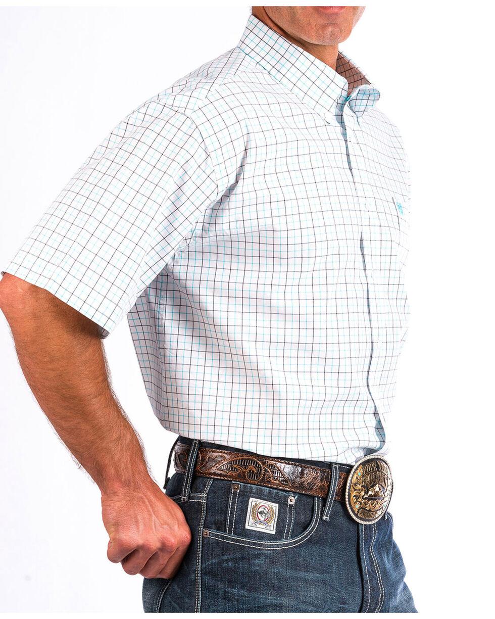 Cinch Men's White Plain Weave Plaid Short Sleeve Shirt - Big , White, hi-res