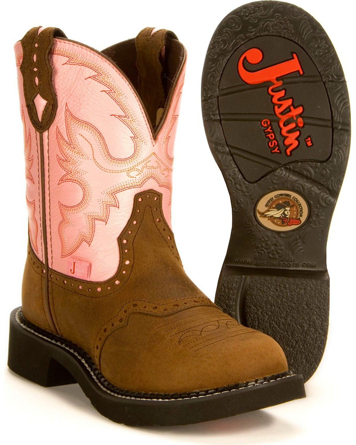 Gemma Pink Cowgirl Boots - Round Toe