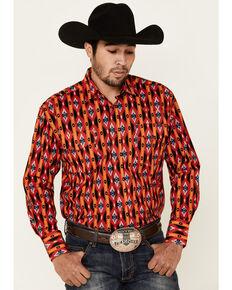 Wrangler Men's Red Aztec Stripe Checotah Long Sleeve Western Shirt , Red, hi-res