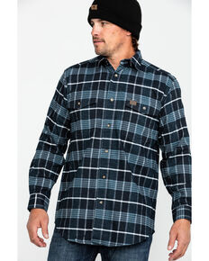 Wrangler Riggs Men's Men's Navy Hooded Flannel Work Jacket , Blue, hi-res