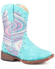 Roper Toddler Girls' Glitter Swirl Western Boots - Square Toe, Blue, hi-res