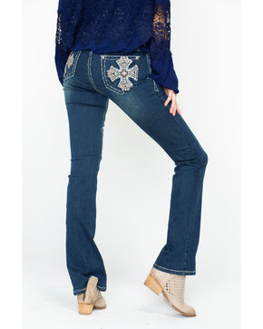 Grace In LA Women's Pink Cross Pocket Boot Jeans , Indigo, hi-res